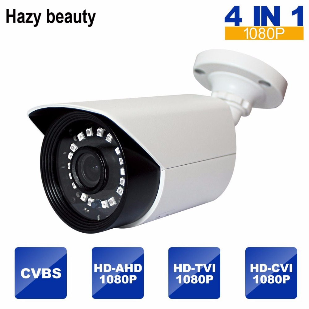 Hazy beauty Outdoor Security Camera 2MP 4-in-1 HD TVI/CVI/AHD/960H 1080P Bullet Camera 3.6mm Lens IR Day Night Video CCTV hd ahd cvi tvi cvbs bullet camera with alarm speaker waterproof ip67 hd 1080p 4 in 1 security camera outdoor night vision ir 20m