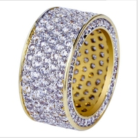 Good Quality New Fashion Gold Color Plated Micro Pave Cubic Zircon Round Ring Full Iced Out Bling Hip Hop Rock Jewelry For Male