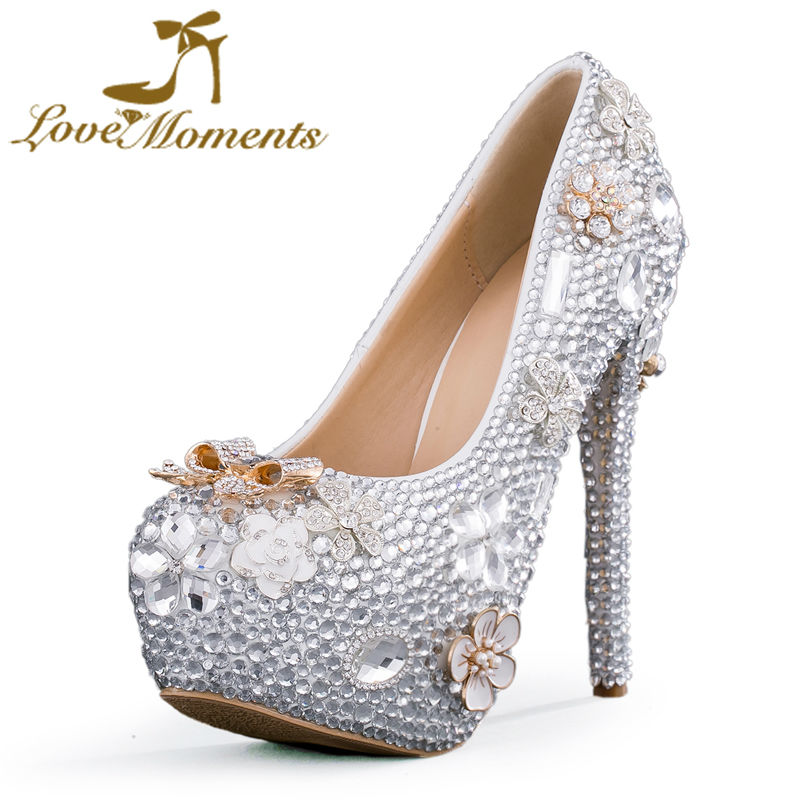 176abb768 Love Moment Sparkling crystal wedding shoes bride rhinestone high heels  shoes bridal party banquet diamond wedding dress shoes