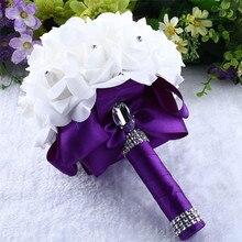 Прямая поставка, высокое качество, розы с кристаллами, жемчуг, букет невесты, свадебный букет, искусственные шелковые цветы и
