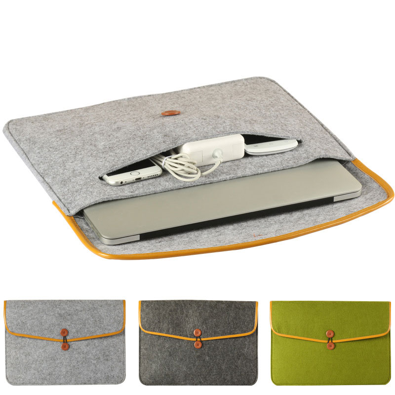 High Quality Felt <font><b>Sleeve</b></font> <font><b>Laptop</b></font> Case Cover Bag for Apple MacBook Air Pro 11inch/ 12inch/ <font><b>13inch</b></font>/ 15inch image