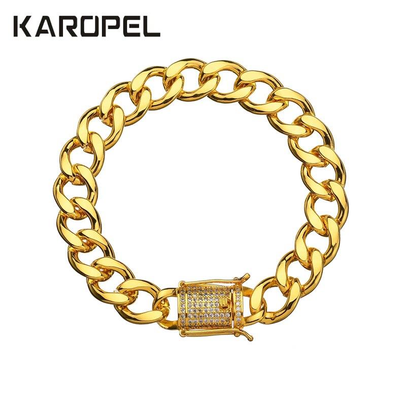 Karopel Crystal Cz Zircon Triple Lock Bracelet 10mm Cuban Link Box Clasp Bracelet Men Female Hip Hop Jewlery Drop Shipping