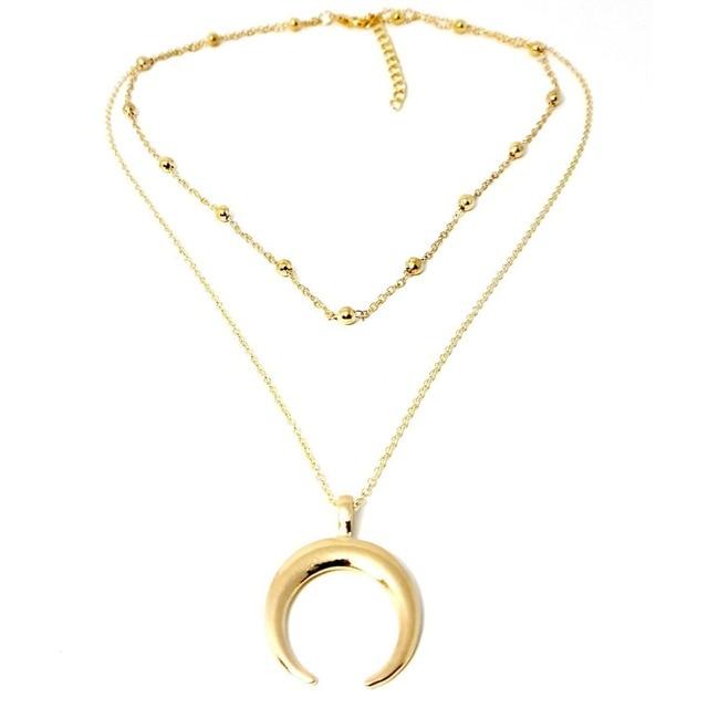 Colgante de luna creciente multicapa para mujer cadena de eslabones Gargantilla Collar regalo de joyer a