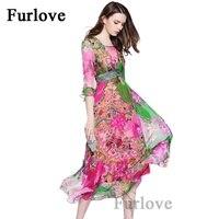 YOUMIGUE 100 Mulberry Silk Floral Print Beach Wear Boho Maxi Dress Women Half Sleeve O Neck