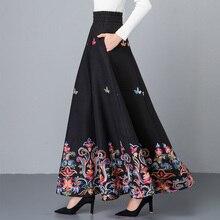 Зимняя Ретро винтажная богемная модная Толстая черная шерстяная Цветочная теплая Женская длинная юбка/макси юбки женская одежда