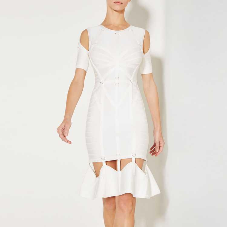 Белый линия Бандажное платье для женщин оборками Vestidos с открытыми плечами Платья для вечеринок по колено Мода коктейльное коллекция FH26