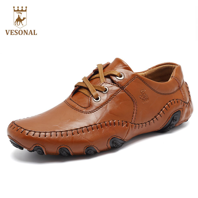 VESONAL Hot Sale 2017 Autum Brand Genuine Leather For Men Shoes Male Adult Casual Walking Driver Quality breathable Footwear Man new style womens ladies fashion hot celeb stretch ripped skinny high waist denim pants jeans personality wolovey 25