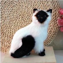 WYZHY Simulation animal model Siamese cat fur student gift decoration home 16CMx10CMx20CM