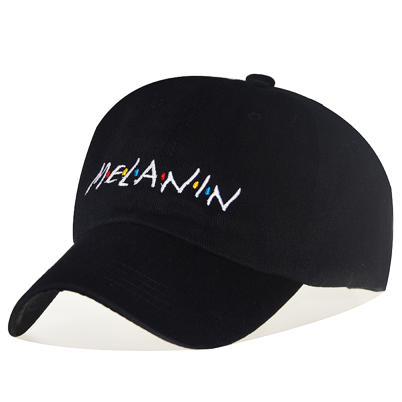 High Quality Cotton MELANIN Adjustable Solid Color Baseball Cap Unisex Couple Cap Fashion Dad HAT Snapback Cap