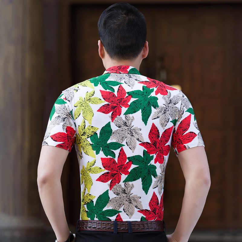 2018 Летняя мужская гавайская рубашка, Корейская мужская рубашка с коротким рукавом, рубашка для отдыха, приталенная рубашка с цветочным принтом, мужские рубашки, большие размеры 6XL