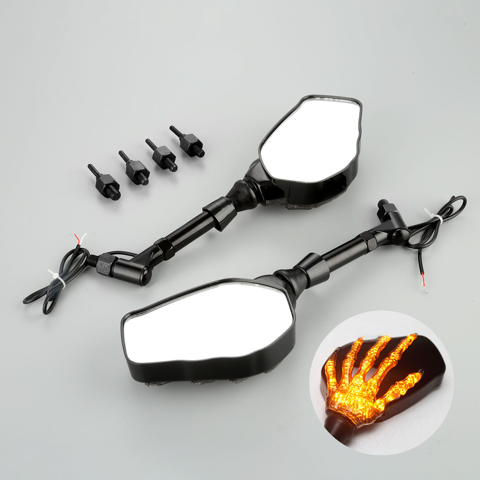 Image 2 - 1Pair Motorcycle Handlebar Rearview Mirror LED Light With Skull Hand Pattern Ghost Claw 8mm 10mm Screws 10W 12V Light-in Side Mirrors & Accessories from Automobiles & Motorcycles