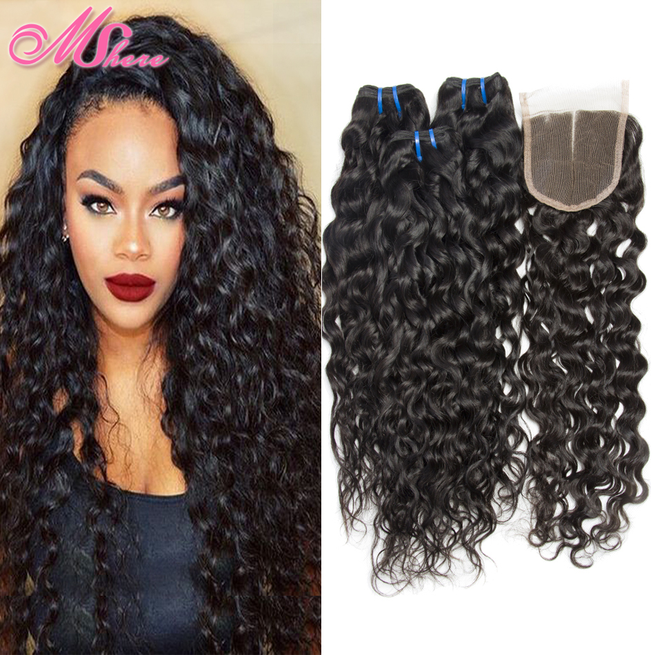 Brazilian Water Wave Virgin Hair With Closure Wet And Wavy