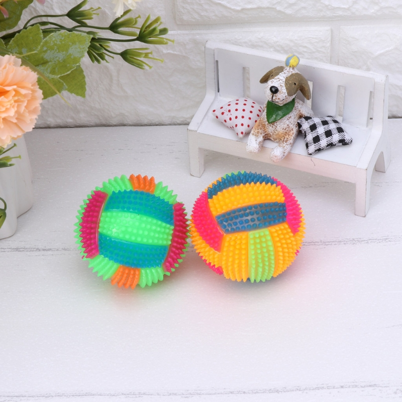 Dog Chew Toy Flashing Football Shape LED Light Sound Bouncy Ball Funny Pet Toy ...
