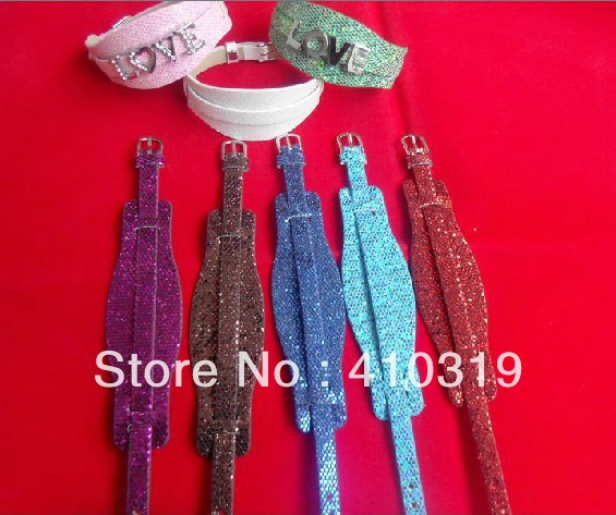 Free Shipping DIY Bracelet 100pcs lot 8mm Wide Shiny PU Leather Wistband Fit For 8MM Slide