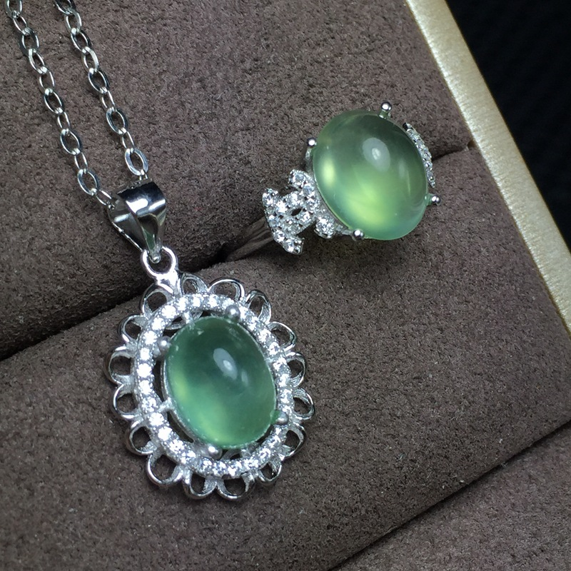 MeiBaPJ Classic Simple Natural Prehnite Gemstone Ring and Necklace for Women Real 925 Sterling Silver