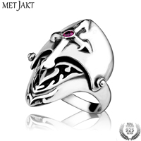 MetJakt Men's Personality Cross Helmet Ring with Ruby Solid 925 Sterling Silver Ring for Punk Gothic Biker Jewelry
