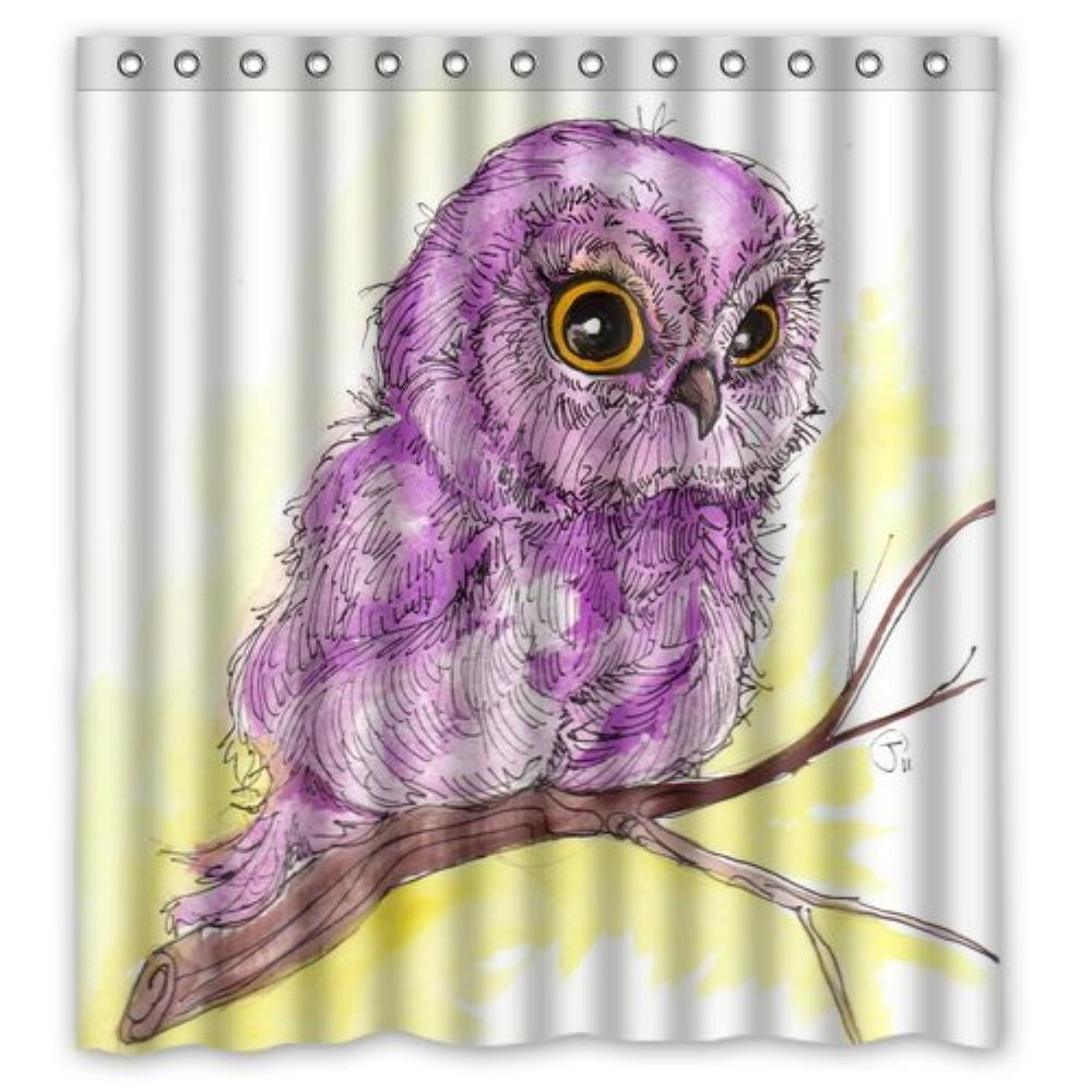 Custom printed shower curtains - Purple Owl Custom Printed Custom Shower Curtain Pattern Waterproof Shower Curtain For Bathroom 66 72inch