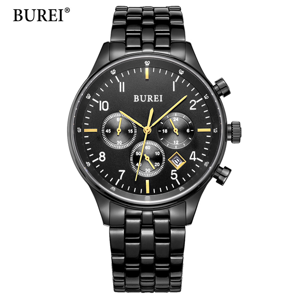 BUREI Luxury Brand Watches Men Six pin Full Stainless steel Military Sport Quartz Watch Man Fashion Casual Business Wristwatches 2016 biden brand watches men quartz business fashion casual watch full steel date 30m waterproof wristwatches sports military wa