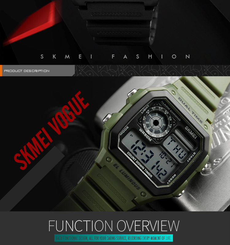 IsMyStore: Fashion Men's Sports Watch Square Dual Time LED Digital Watches Male Clocks Relojes Deportivos Herren Uhren Reloj Hombre Montre