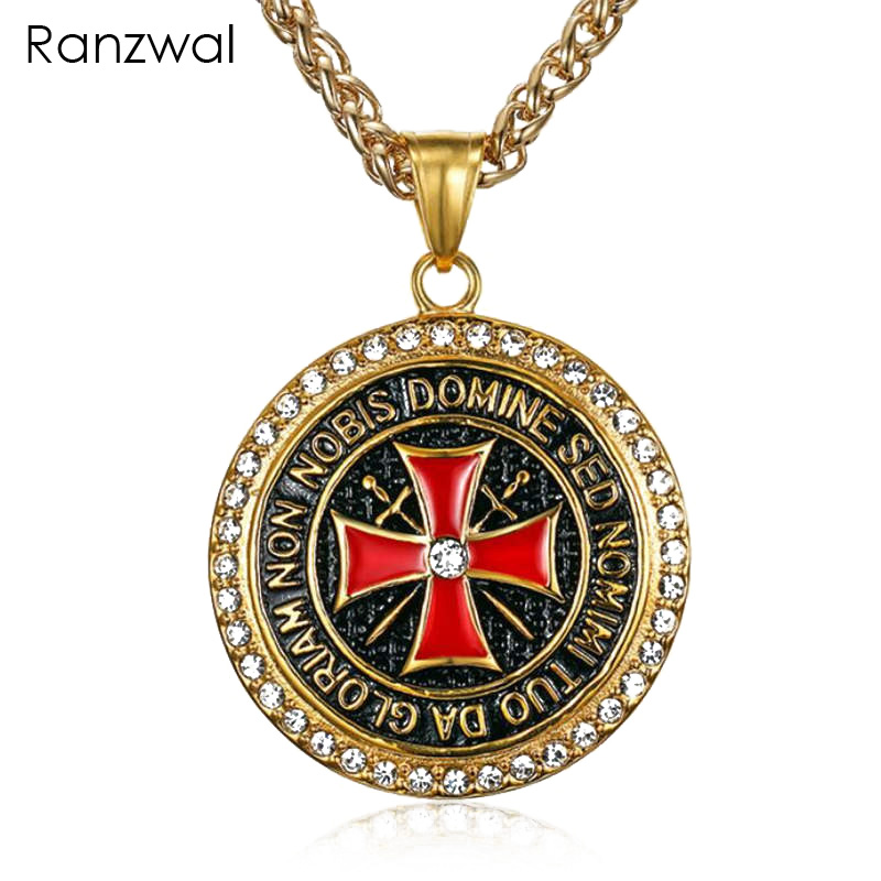 Ranzwal The Knights Templar Iron Cross Pendant Necklaces for Men Inlay CZ Stone Red Glaze Cross Stainless Steel Necklace MNE016Ranzwal The Knights Templar Iron Cross Pendant Necklaces for Men Inlay CZ Stone Red Glaze Cross Stainless Steel Necklace MNE016