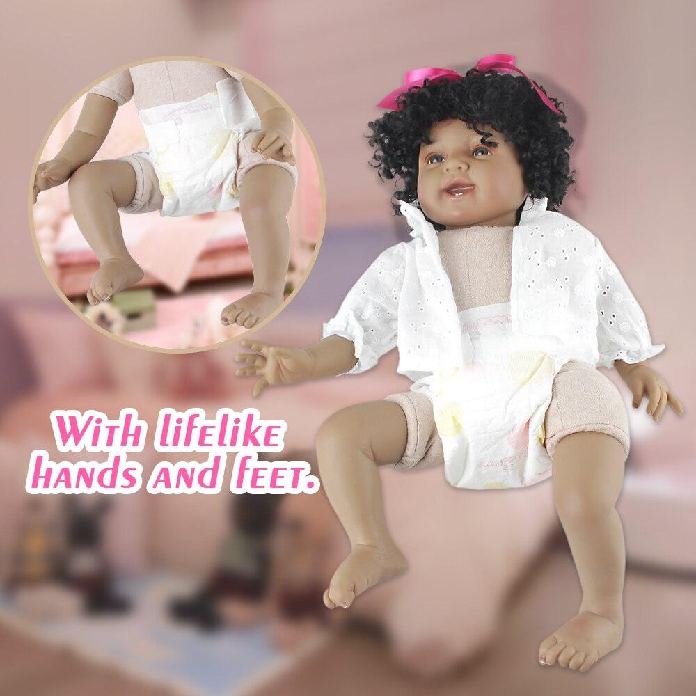 NPK 55 cm Negro Princesa Muñecas de Silicona Suave de Cuerpo - Muñecas y peluches - foto 5