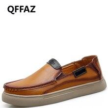 QFFAZ 2019 New Fashion male shoes leather Black Men Flats Genuine Masculino Adulto Handmade zapato Men shoes casual cuero hombre