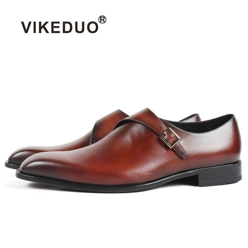 Vikeduo 2019 fait à la main marron mode luxe marque de mariage mâle Double moine chaussure en cuir véritable hommes formelle patine robe chaussures-in Chaussures d'affaires from Chaussures    1