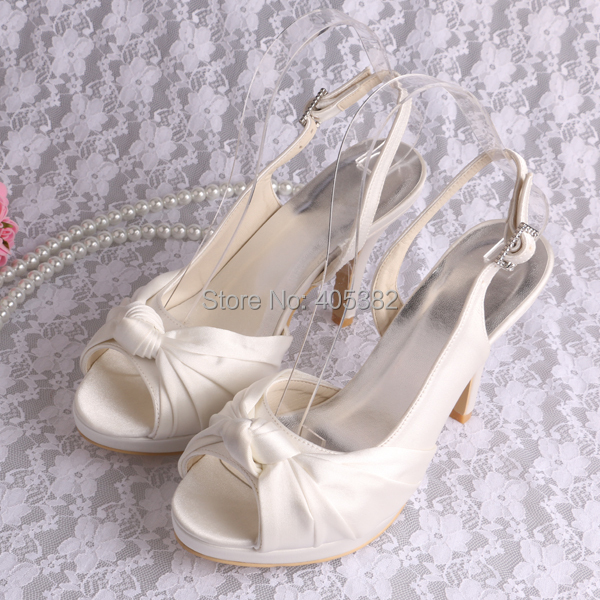 ФОТО Wedopus MW691 Top Quality Slingback Beige Peep Toe High Wedding Shoes Bride for Women Sandals