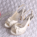 Wedopus MW691 Top Quality Slingback Beige Peep Toe High Wedding Shoes Bride for Women Sandals