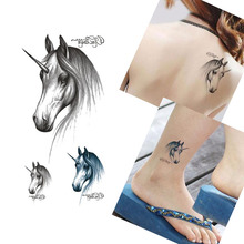 Bittb 3Pcs Horse Head Pattern Waterproof Temporary Tattoo Body Art Tattoo Pasters Fake Stickers DIY Decoration Tattoo Tool