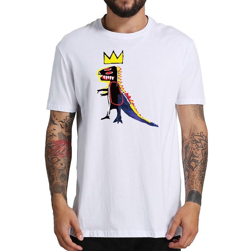 Basquiat T Shirt Dinosaur Crown Street Art Graffiti T-shirt Short Sleeve Casual Breathable Tops EU Size 100% Cotton Tees