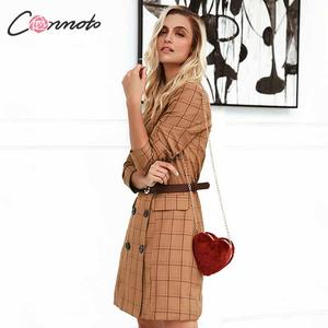 Image 2 - Conmoto Vintage Khaki Plaid Women Blazer Dress 2019 Autumn Winter Slim Long Blazer Check Office Blazer Jacket Feminino Outerwear