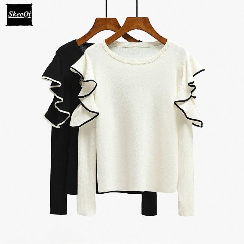 2018 New Autumn Luxury Fashion Runway Designer Women Sweater Pullover Sweaters White Ruffles Black Basic Knitted Tops Jumper