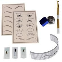 Beauty Girl Permanent Makeup Microblading Eyebrow Tattoo kit Pen Needle Paste Skin Ruler Oct 14