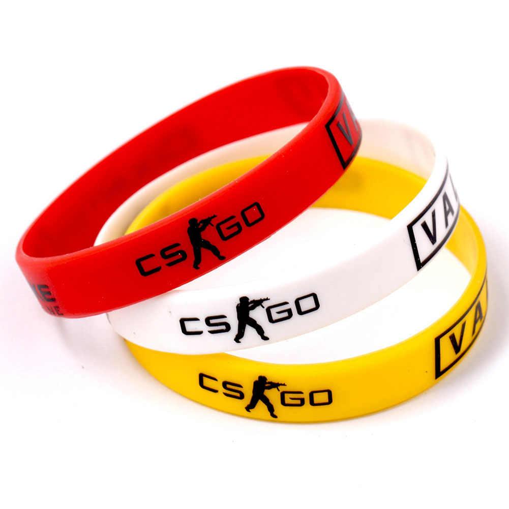 Braclet, красный, желтый, белый крест, огонь, Braslet для мужской игры, CS GO, силиконовые резиновые браслеты для диабета