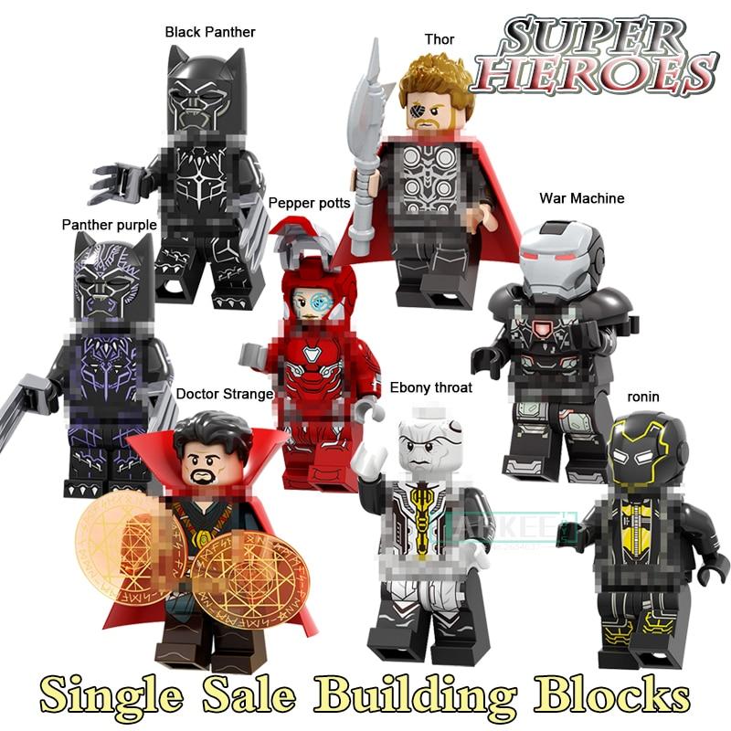 Single Sale Building Blocks Super Heroes Pepper Potts Thor Black Panther Doctor Strange Figures Bricks Kids Toys for Children