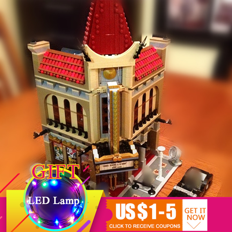 15006 2354pcs Palace Cinema City Street Model Set Compatible with 10232 Building Blocks For Children toys city street series 15006 2354pcs palace cinema building blocks creator compatible legoing 10232 bricks toys gifts for children