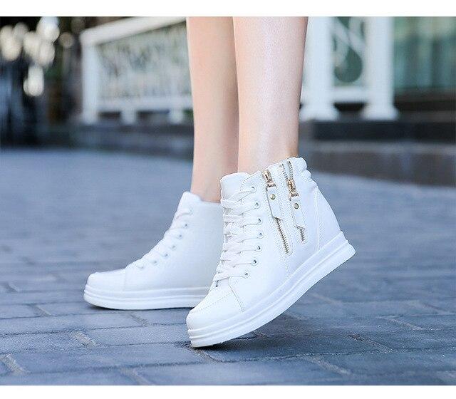 SWYIYV, zapatos blancos para mujer, zapatos informales de moda de primavera y otoño 2018 para mujer, zapatillas de deporte de cuña con cremallera y cierre alto para mujer, zapatos blancos