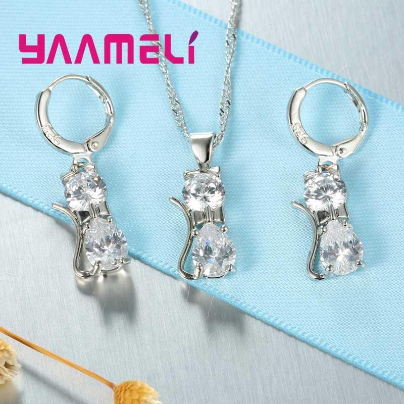 Echte Qualität 925 Sterling Silber Schmuck Set Klar CZ Cubic Zirkon Katze Halskette Ohrringe Anhänger Für Frauen