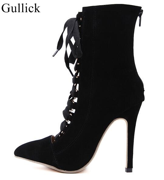 Women Lace Up Ankle Boot High Heels Sandals 12cm Pointed Toe Boots Fashion Pink Black Lady Party Evening Dress Wedding Shoes black autumn men ankle boots pointed toe botas hombre lace up botas militares wedding dress shoes mens cowboy boot