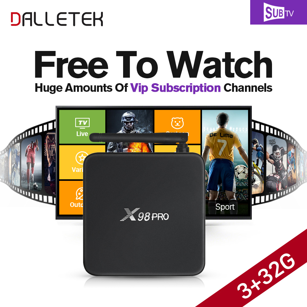 Dalletektv Android TV Box S912 Octa Core 3G+32G IPTV 3500+ HD IPTV Arabic Europe Channels VIP Subscription 1 Year Account