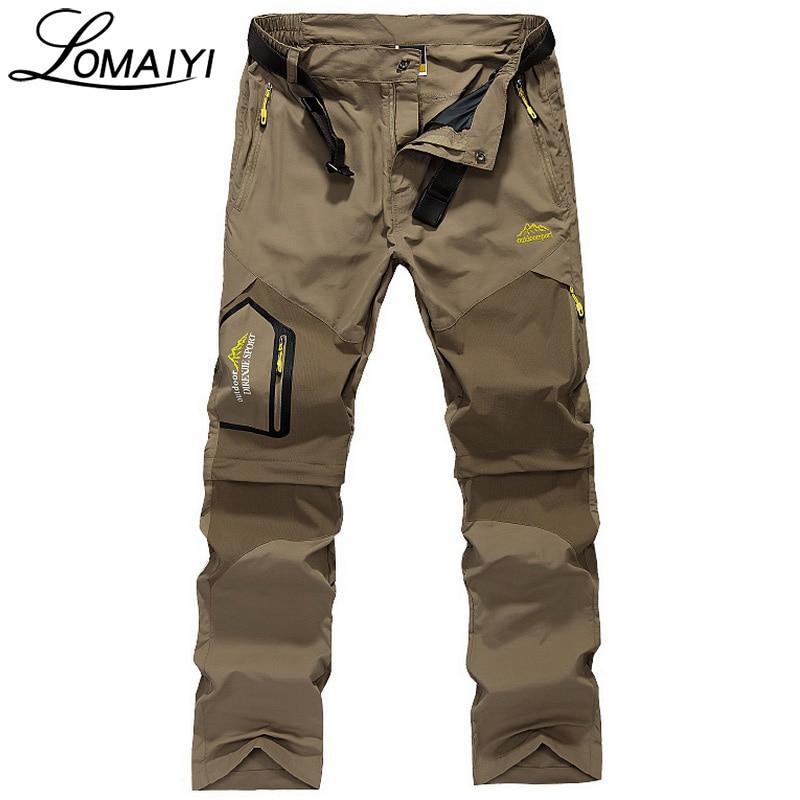 LOMAIYI Brand Removable Men Pantaloni de marfă cu buzunare cu fermoar Armata Verde Negru Pantaloni de turism khaki Pantaloni pentru bărbați Casual Pantaloni, AM002