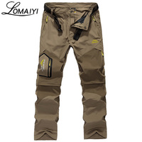 LOMAIYI Brand Removable Men Cargo Pants With Zipper Pockets Army Green Black Khaki Tourism Trousers Male Casual Pants Belt,AM002