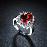 Top Quality White Gold Plated Red Blue White Zircon Finger Rings Elegant Brand Jewelry CZ Austrian