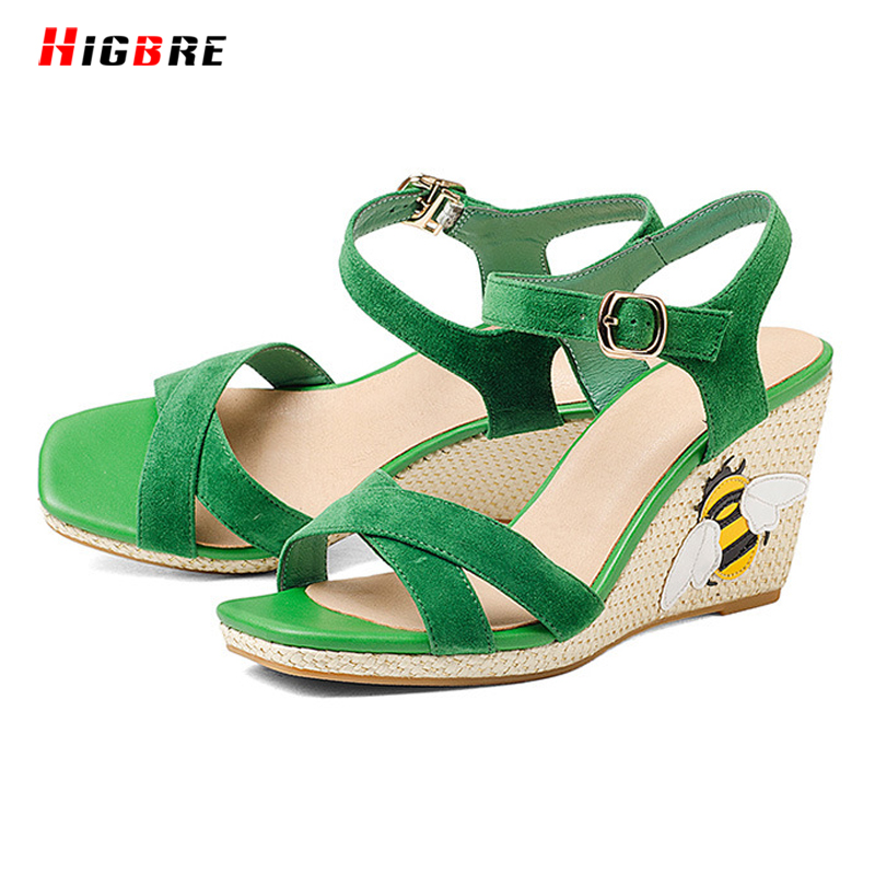 ФОТО HIGBRE 2017 Women Strap Sandals Shoes Slope With High-heeled In Summer Beach Slabs Thick Heels Shoes Sheep Skin sandalias mujer