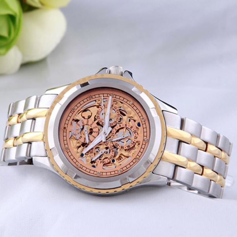 Creative new 1PC Men's Hcandice Fashion Skeleton Mechanical Stainless Steel Watch,luxury and Classics and Casual watch creative fashion mechanical watch men hollow skeleton mechanical stainless steel watch luxury casual classics waterproof sports