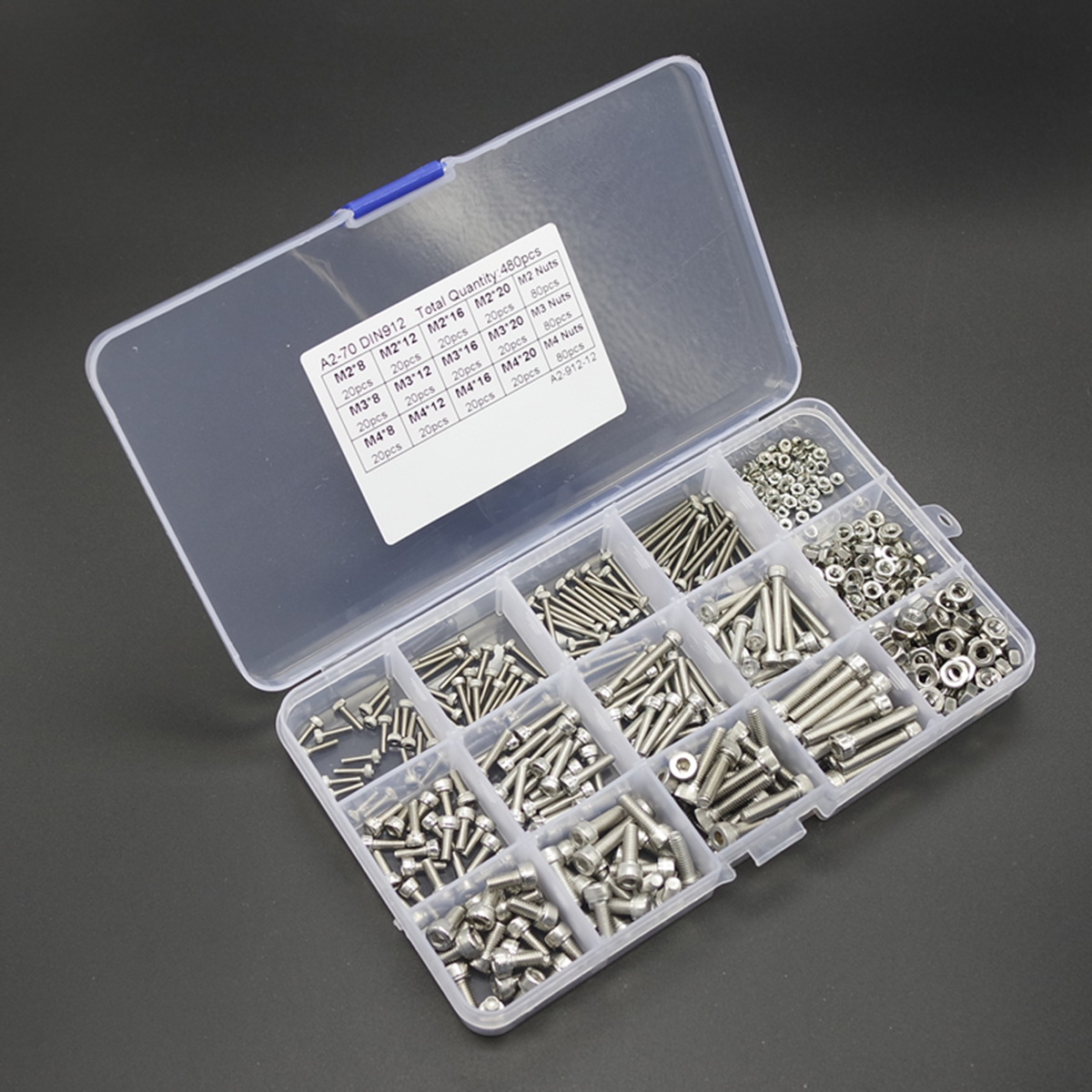 480pcs Stainless Steel Hex Socket Screws M2 M3 M4 Head Cap Screw Nut Set With Box Mayitr 250pcs set m3 5 6 8 10 12 14 16 20 25mm hex socket head cap screw stainless steel m3 screw accessories kit sample box