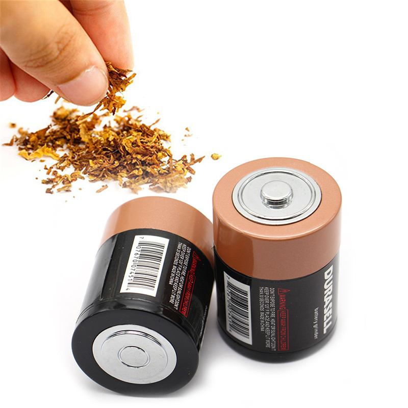 1Pc Creative Battery Shaped Metal Zinc Alloy Herbal Herb Tobacco Grinder Weed Spice Cigarette Smoking Tools