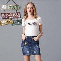Pencil Denim Skirts Women Vintage Floral Embroidered Button Up Skirts 2017 Fashion Summer Slim Cotton Skirts