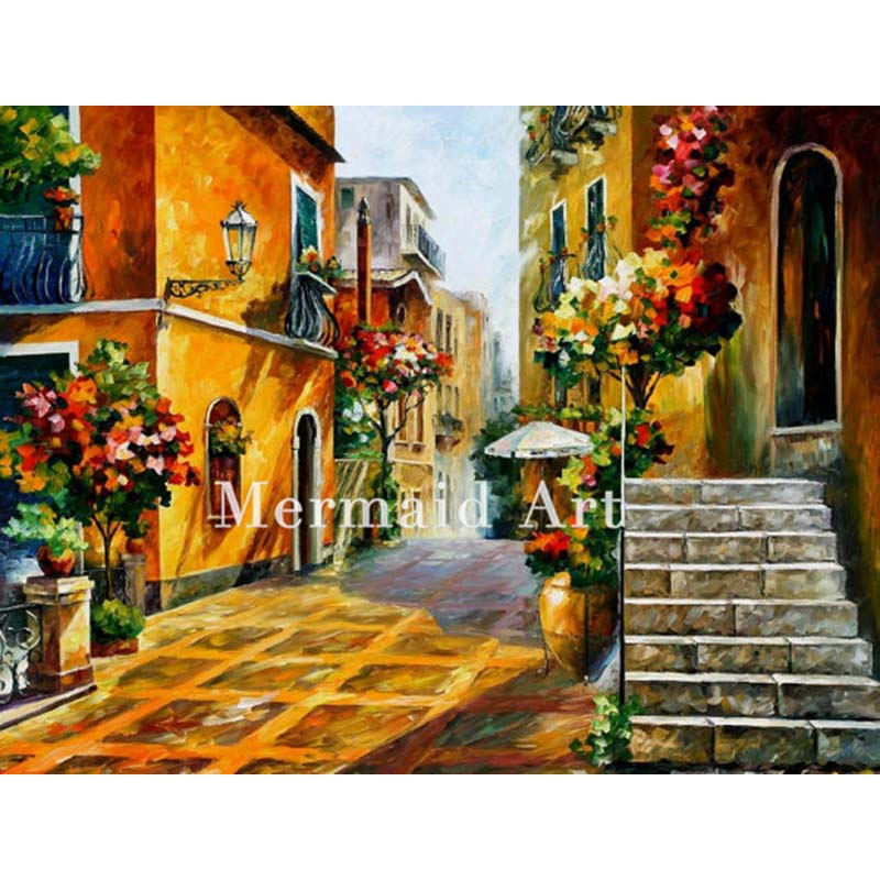 Hand Painted Landscape Abstract Palette font b Knife b font Modern The Sun Of Sicily Oil